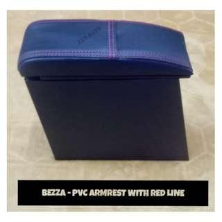 PROTON BEZZA PVC CAR ARMREST CONSOLE BOX with RED LINE