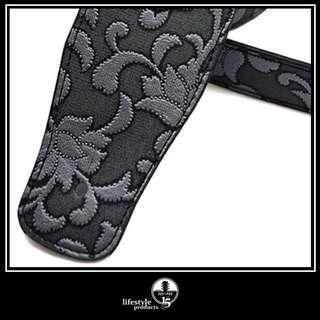 Embossed Faux Leather Guitar Strap - Silvery Floral *New . In Stock*