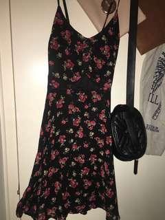 Rose cross back cut out dress