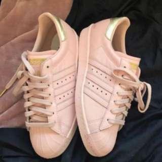 Pink & Gold Adidas Superstars