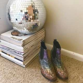 rainbow faux snakeskin pointed toe boots
