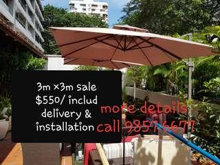 BRAND NEW SUNRAY OUTDOOR PATIO PARASOL 3M ×3M  & 2.5M ×2.5M very nice umbrella  Beige & red color  sale $550/ included delivery and installation strong GRANITE base weigh 110KG