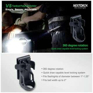 "Nextorch V5 Tactical Flashlight Holster with Lever Side Lock System Only for 1""-1.25"" Diameter Flashlight"