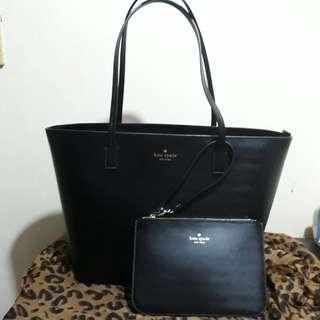Authentic Kate Spade Harmony black leather tote bag with wristlet
