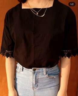 Black linen top with lace detail
