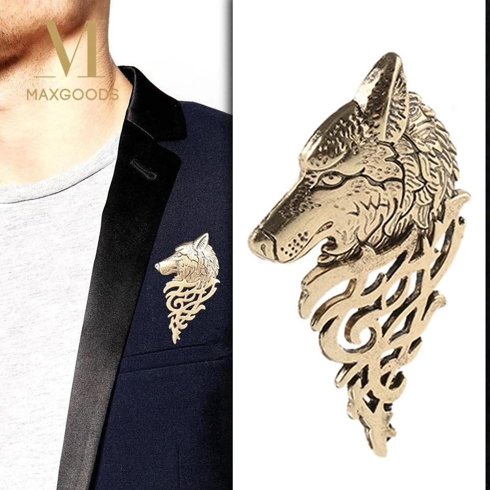 18612e6d4a87 1Pcs Fashion Vintage Wolf Badge Pin Brooch Lapel Pin Men Punk Shirt ...