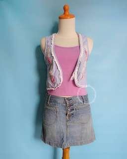 Vest Payet + Denim Skirt