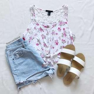 F21 Floral White Tie Top