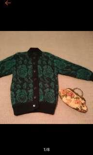 🚚 古著 復古 玫瑰印花 毛毛 針織外套 毛衣外套 古著外套  九成新