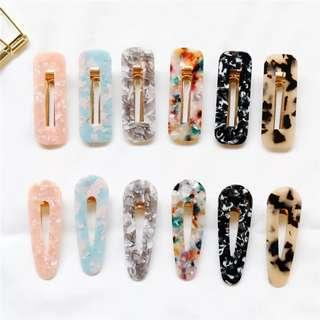 Marble Style Resin Hair Clip Accessories
