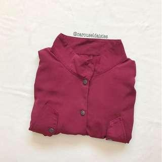 Staticfumes Button Maroon Outerwear