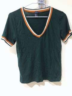 🚚 Forever 21 F21 墨綠色v領棉質上衣 短袖T恤