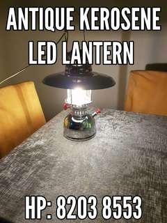 Original retro vintage antique kerosene lamp lantern light fitted with modern LED bulb, energy saving, wall ceiling hung or table top display, kitchen dinning balcony garden light