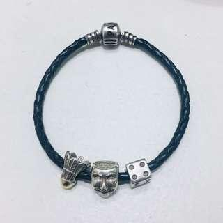 Pandora charms and leather bracelet