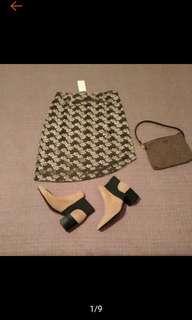 🚚 全新 超美 AZONA 亮絨印花 特殊造型 斜邊 及膝裙 原價1180