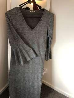 black and grey autumn dress
