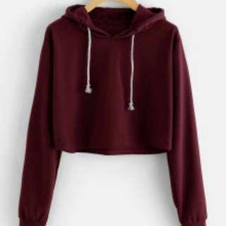 h&m maroon crop hoodie