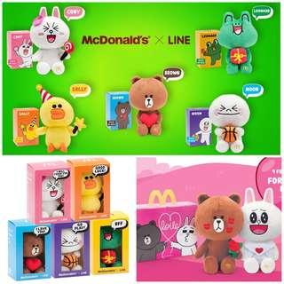 McDonald's line plush toy - complete set of 7 with valentine brown and cony, sally Leonardo and moon