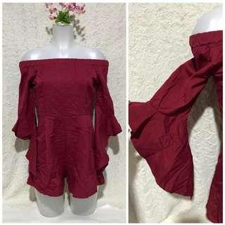 Very Sexy Red off shoulder bell sleeves Jumpsuit romper