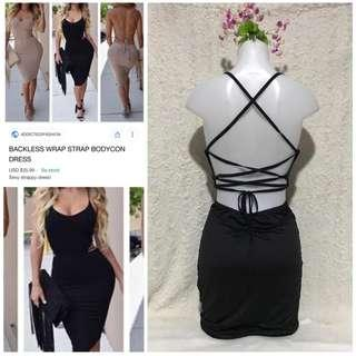 Very Sexy Backless strappy LBD blackparty cocktail dress