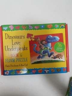 🚚 Dinosaur Love Underpants Book & Floor Puzzle