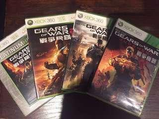 Gears of war 1 to 3 and judgment.