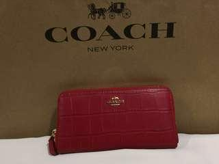 AUTHENTIC COACH True Red Crocodile Leather Wallet