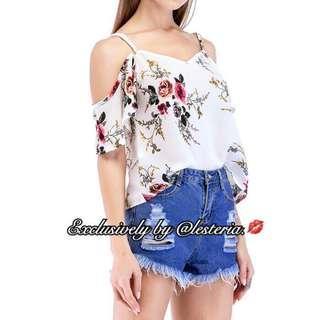 Floral Cold Shoulder Swing Cami Top (White)
