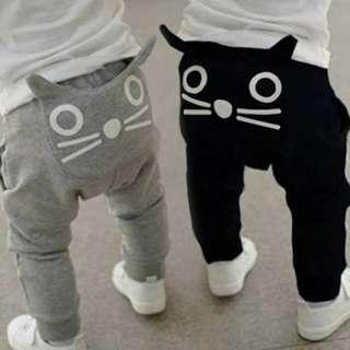 Instock last 2 pcs 'cat design ' track pants
