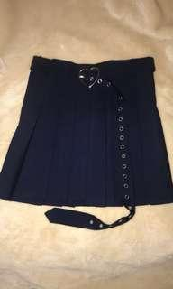 Navy Belted A-Line Skirt