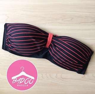 Black & Stripes Bandeau Top Swimsuit