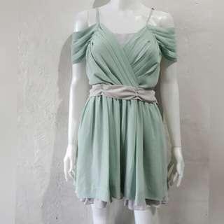 Mint green cold off shoulder chiffon dress