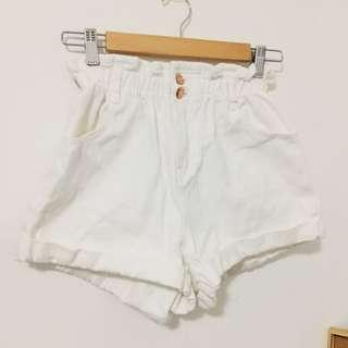 High waisted paper bag style shorts