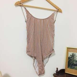 Backless vintage style stripe one piece swimsuit / bodysuit