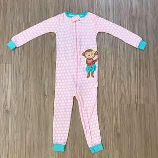 🚚 全新carter's粉紅白點點小猴子連身衣 3T