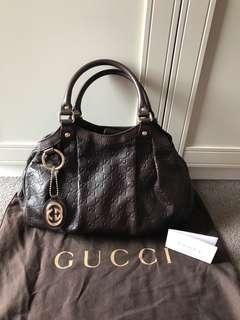 Barely used authentic brown leather Gucci bag (shukey)