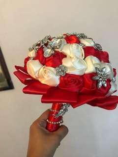 Stunning red satin  bridal bouquet for rent