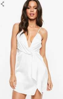 Missguided white plunge neck mini dress