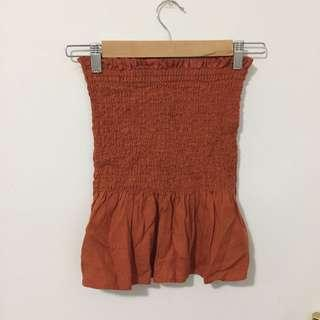 Burnt orange rust shirred top