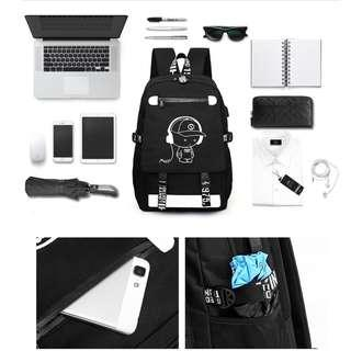 ABS_ABSL 1013 Fashion trend large-capacity luminous USB Port And Padlock backpack school boy college student bag male