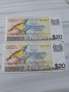 Bird Series $20 notes each