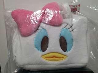 Disney Daisy  Duck 毛毛手提袋 拉鍊袋