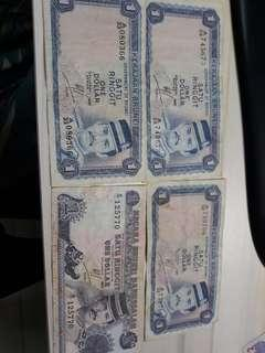 Old brunei 1 dollar notes