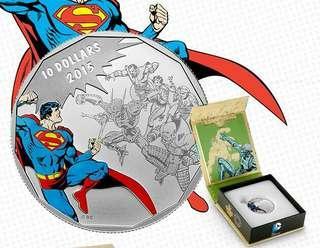 1/2安士全新的加拿大彩色超人銀幣