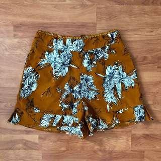 🚚 Ally Floral Printed Mustard Ruffled Shorts