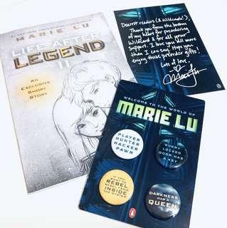 Wildcard Preorder Swag (Buttons & Life after Legend II & Marie Lu's letter)