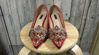 全新新娘紅色閃石結婚敬酒/褂鞋