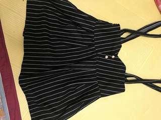直條紋吊帶短裙