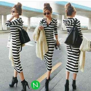 Strip dress( Korean style)