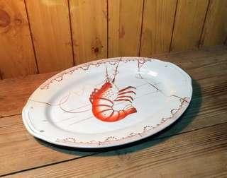 蝦紋腰仔盤(蝦盤)—古物舊貨、早期台灣老碗盤收藏